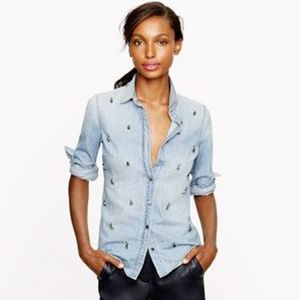 J. Crew Collection BOY SHIRT IN BEADED CHAMBRAY